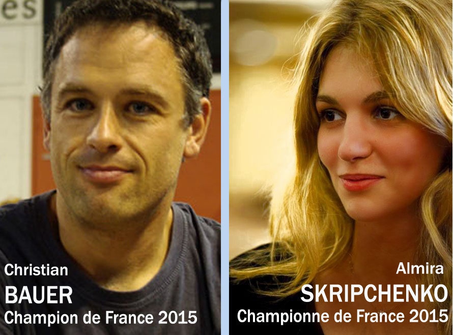Christian Bauer et Almira Skripchenko sacrés champion et championne de France d'échecs 2015 © FFE