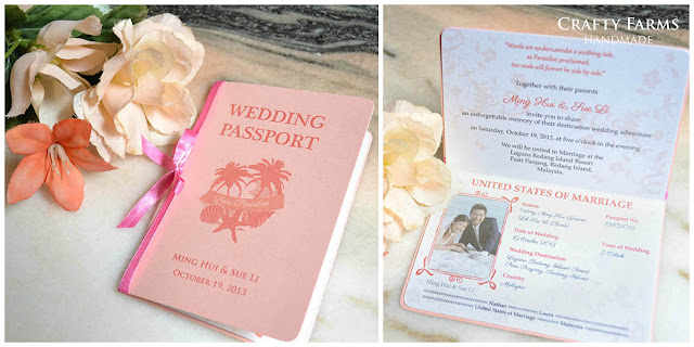 Handmade Beach Theme Wedding Passport Invite