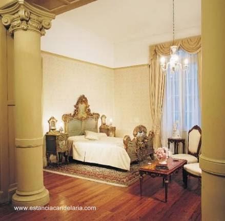 Dormitorio en suite en el casco de la estancia La Candelaria