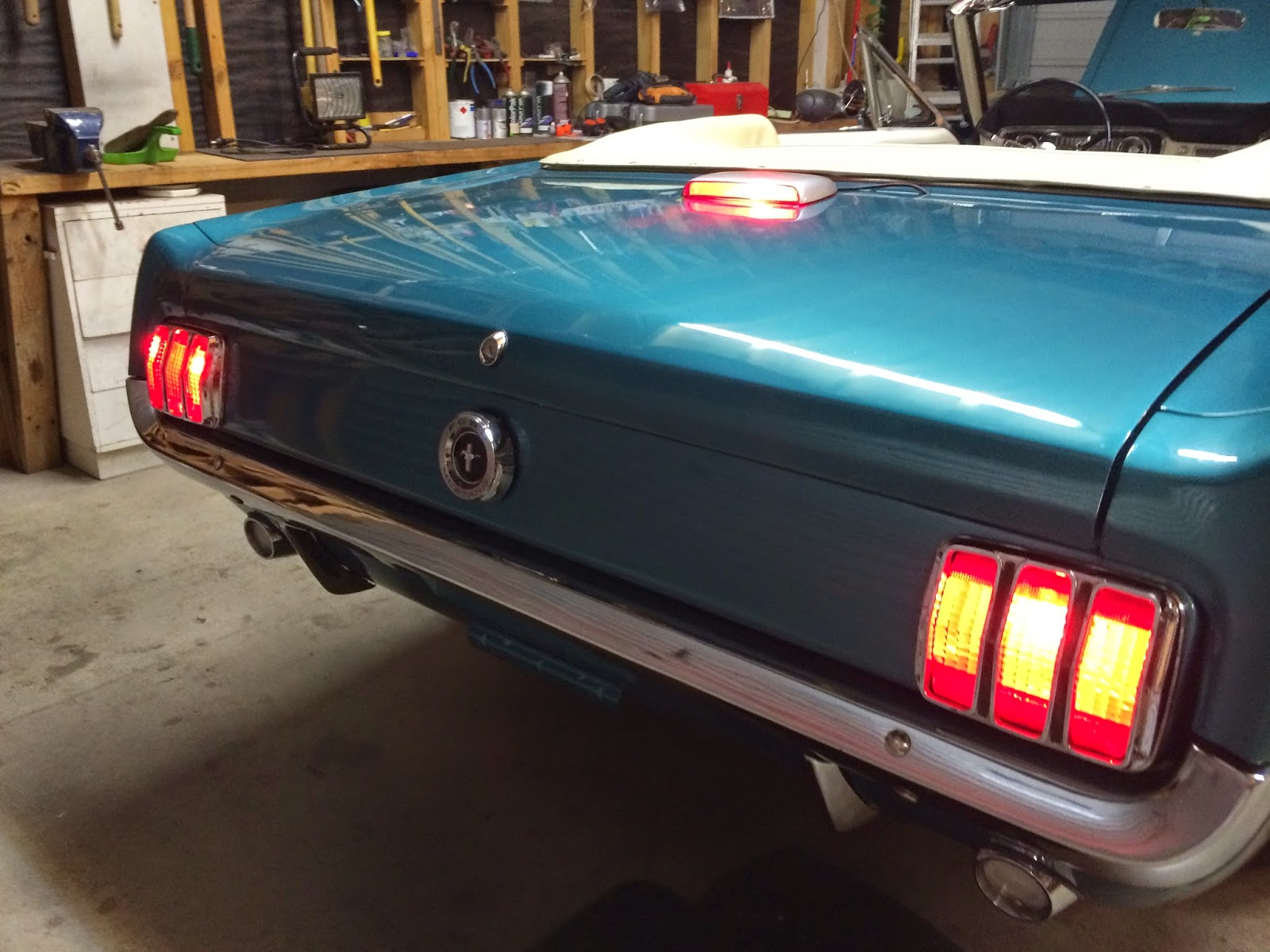 1965 convertible mustang restoration different versions of third later i came up with the idea of fitting a red led light strip that i bought on ebay and mounted it to the thin stainless strip behind the back seat aloadofball Choice Image