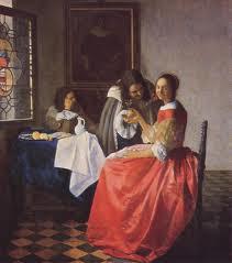 Vermeer schilderij Het glas wijn
