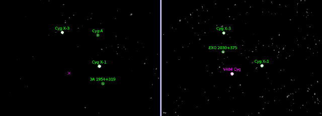 These images show the patch of the sky where the black-hole binary system V404 Cygni is located, as observed with the IBIS instrument on ESA's Integral gamma-ray observatory. This system, comprising a black hole and a star orbiting one another, is located in our Milky Way galaxy, almost 8000 light-years away in the constellation Cygnus, the Swan. Credit: ESA/Integral/IBIS/ISDC