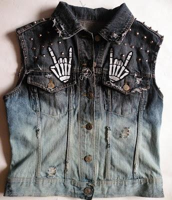 diy ćwieki rock kamizelka moda jeans 666 satan blog