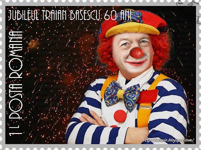 Funny stamp Jubileul Traian Băsescu Clown