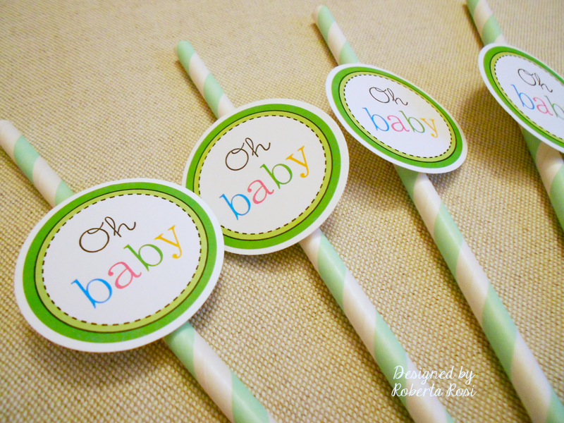 SRM Stickers Blog - Baby Shower Favors by Roberta - #straws, #favors #stickers #twine #doilies