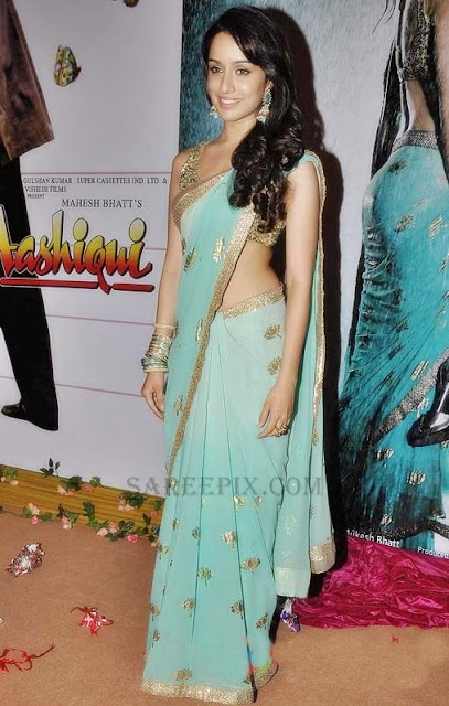 Shraddha-kapoor-blue-saree-Aashiqui-2-music-launch