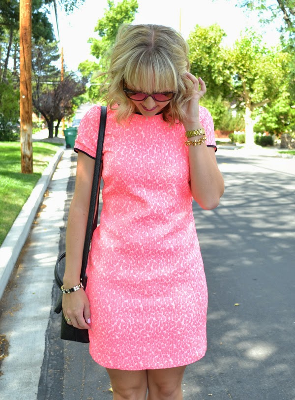 pink banana republic dress, style blog, kate spade crossbody purse