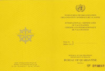 Yellow fever vaccination for seamen travelers ivan for Bureau quarantine philippines