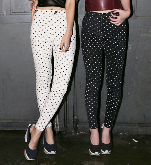 Polka Dot Pintuck Pants