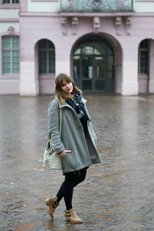 ootd all grey coat skirt scarf ethno