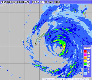 Radarbild: Taifun GUCHOL (BUTCHOY) jetzt bei Okinawa, Japan, Radar Doppler Radar, Taifunsaison, Guchol, Butchoy, Japan, Sturmwarnung, aktuell, Taifun Typhoon, Taifunsaison 2012, Juni, 2012,