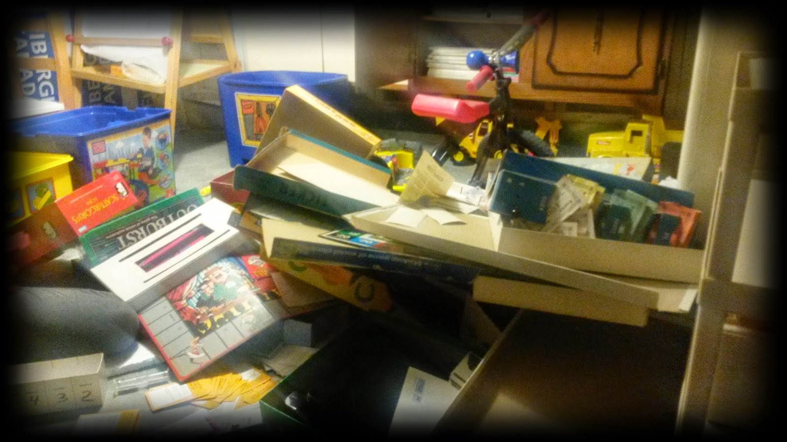 Huge Mess, board game mess, kid mess, ultimate mess, pile of board games