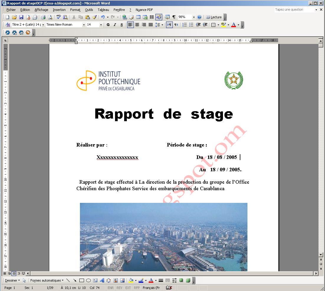 Exemple de page de garde gratuit word 2013 stagepfe page - Page de garde rapport de stage open office ...