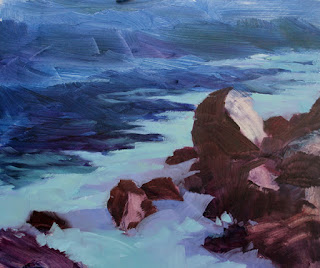 Plein air oil painting seascape, step by step, by Andy Dolphin.
