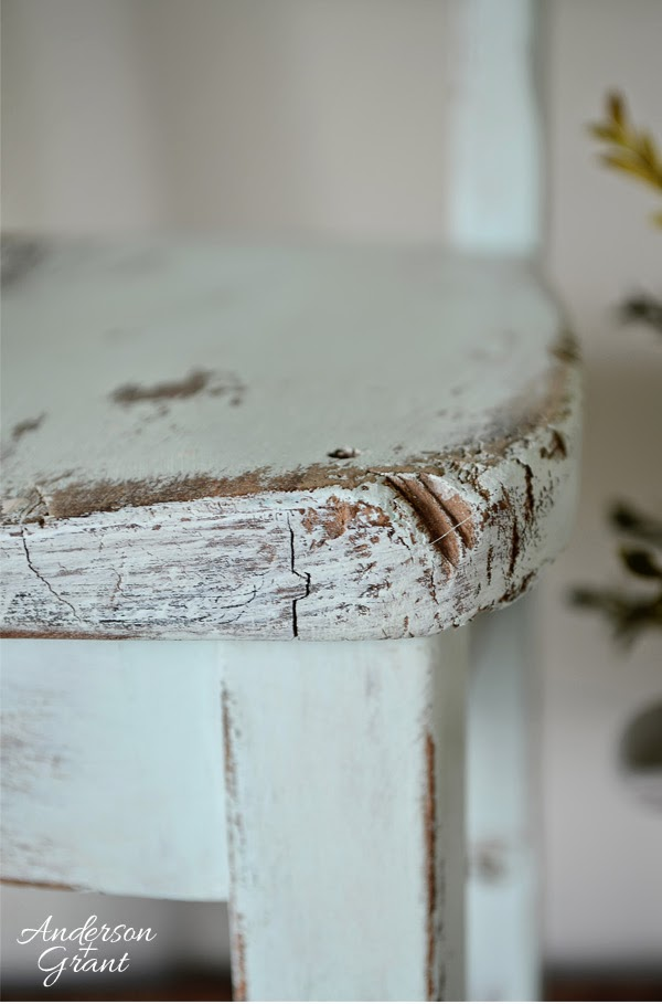 Corner of hand painted and distressed kid's chair from www.andersonandgrant.com