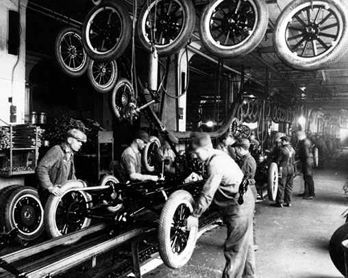On October 7 1913 Henry Ford Revolutionizes The Automotive Industry With His New Assembly Line In Highland Park Michigan Factory He Used A Motor And
