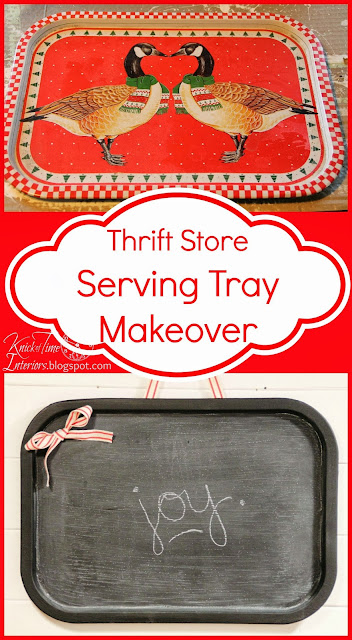 Repurposed thrift store serving tray into chalkboard - KnickofTime.net