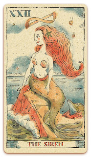 The Siren card - Colored illustration - Curio & Co Tarot of Musterberg - In the spirit of the Marseille tarot - major arcana - design and illustration by Cesare Asaro - Curio & Co. (Curio and Co. OG - www.curioandco.com)