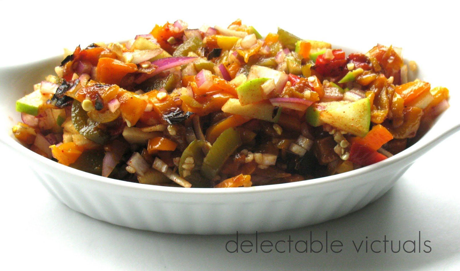 Roasted Tri-Color Peppers and Green Apple Salsa