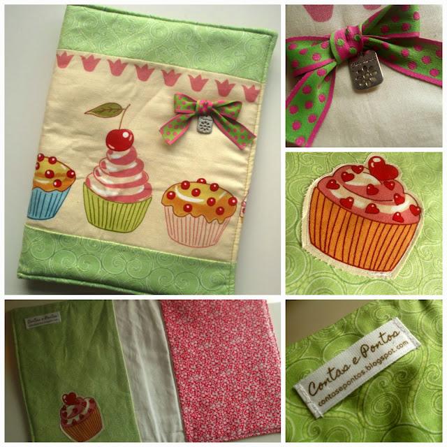 Livro de receitas em tecido - cupcakes