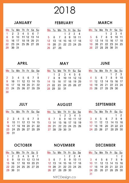 New York Web Design Studio, New York, NY: 2018 Calendar ...