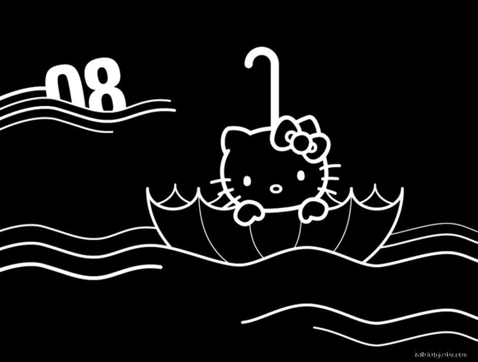 Hello Kitty Black And White Wallpaper