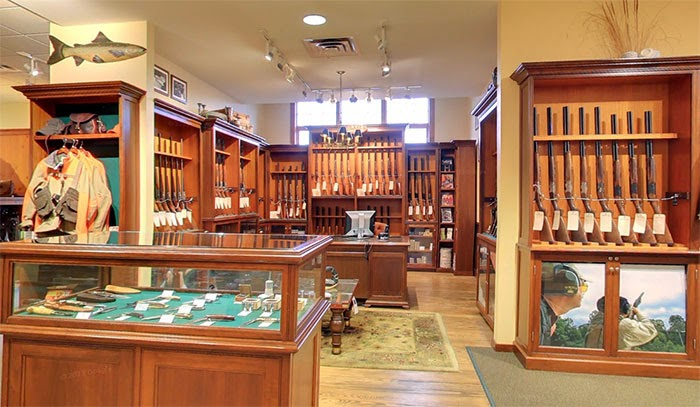 Orvis gun room in Manchester flagship store