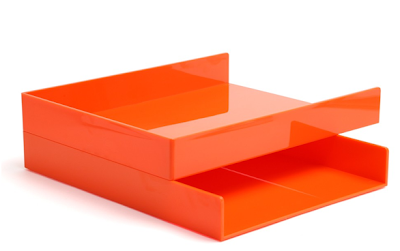 two orange inboxes, stacked
