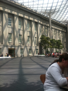 Shady courtyard at the National Portrait Gallery in Washington, D.C.
