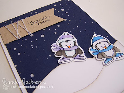 Warm Wishes Penguin Card using Snow Day Stamp set by Newton's Nook Designs