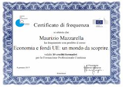 """Certificato di Frequenza """"Economia e fondi UE: Un Mondo da Scoprire"""""""
