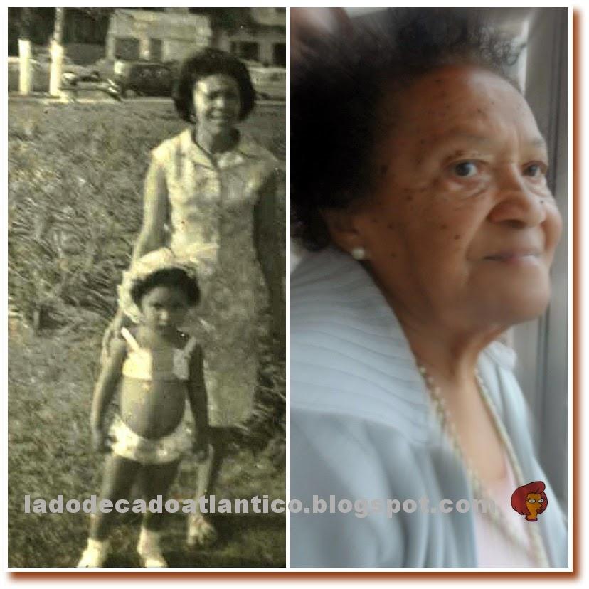 Mosaico com duas imagens, à esquerda eu com 3 anos e minha mãe num dos jardins da praia em Santos, à direita minha mãe atuamente