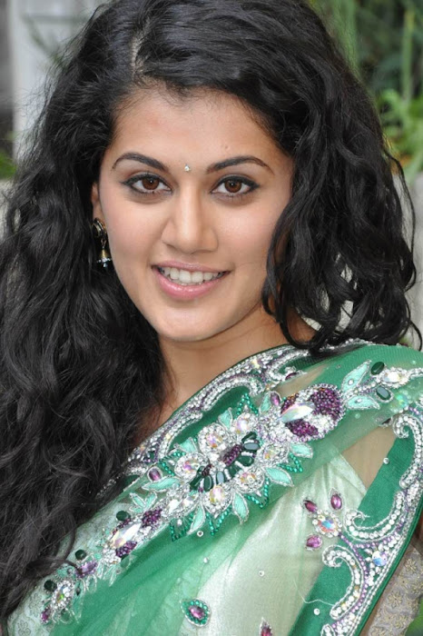 tapsee in shadow movie fame green saree , photo gallery
