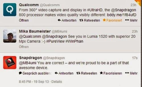 Notizia ufficiosa che il nuovo phablet Lumia 1520 di Nokia utilizzerà lo Snapdragon 800 come chipset