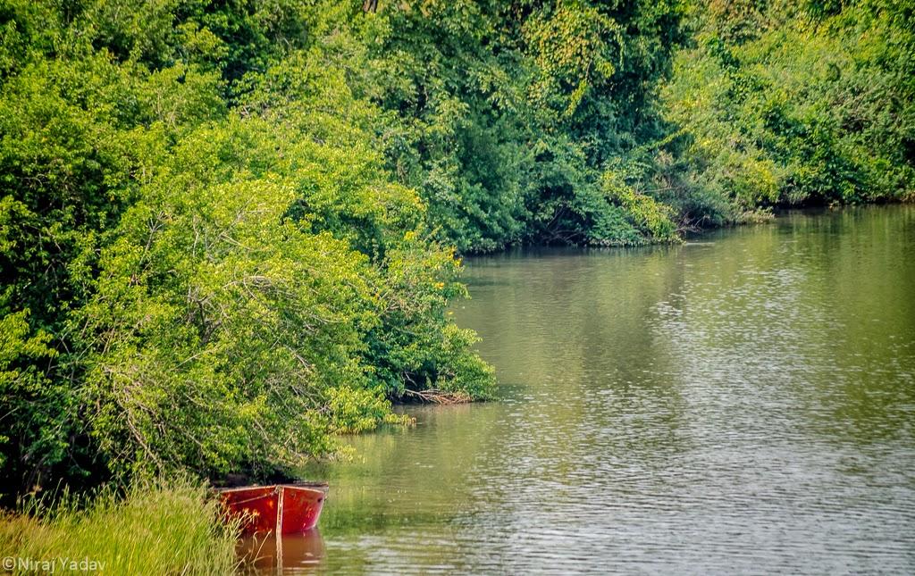 scenic nature, red boat