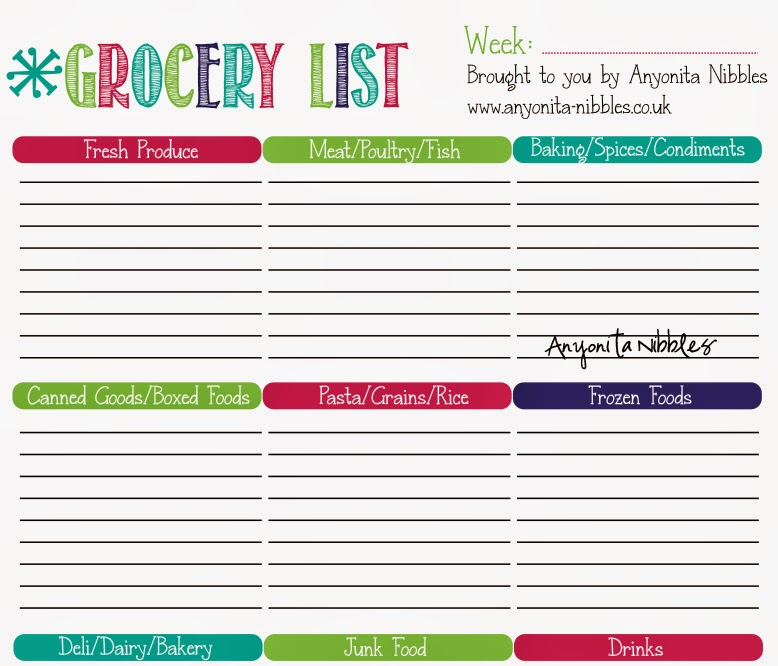 Anyonita Nibbles – Printable Grocery List Template Free