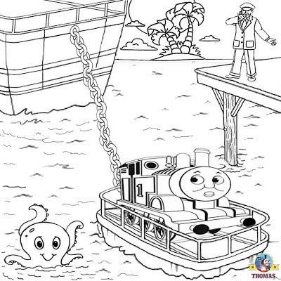 Big Sea raft boat Misty Island Rescue cartoon Thomas the train coloring printables to color for free