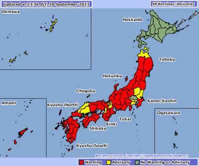 Taifun ROKE aktuell: Sturmwarnung Japan im Detail, Roke, Taifun Typhoon, Japan, September, aktuell, 2011, Sturmwarnung,