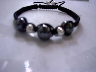 Shamballa Hematite Ball Bling and iron silvered beads Adjustable
