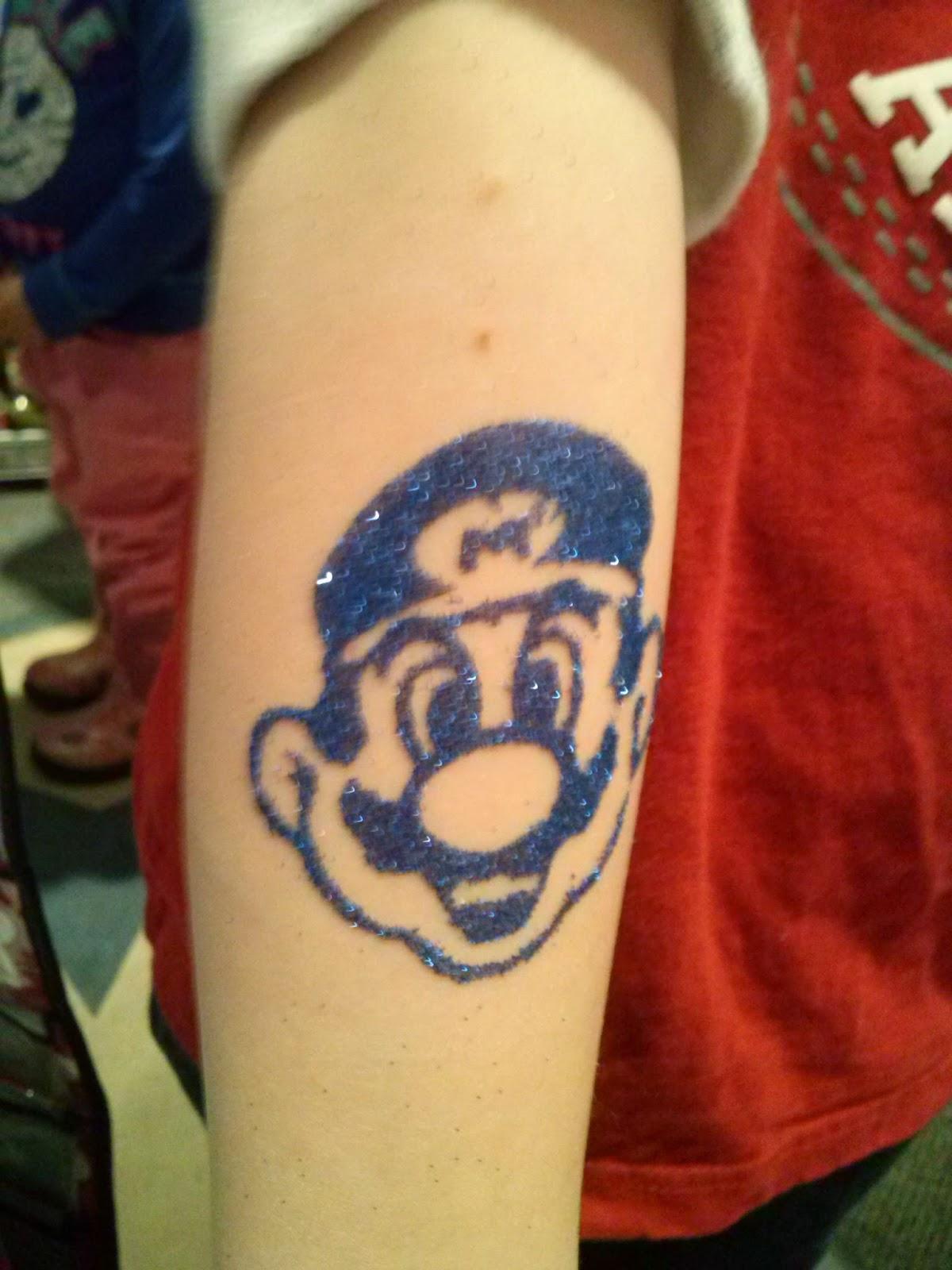 Mario Glitter Tattoo