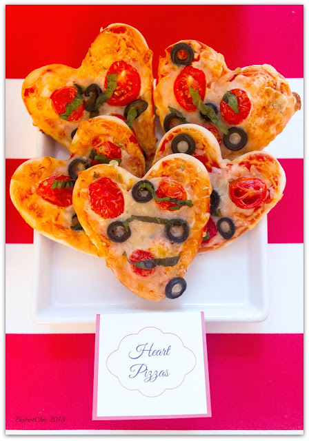 Love is in the Air Party heart pizzas featured in Pizzazzerie from BistrotChic