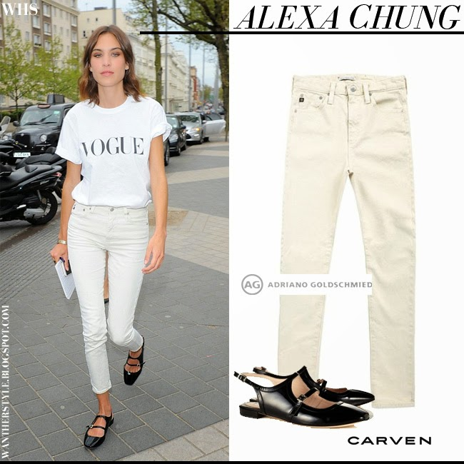 Alexa Chung in white Vogue print t-shirt, cream skinny jeans AC for AG Brianna and black patent ballet flats Carven want her style april 25 simple chic streetstyle