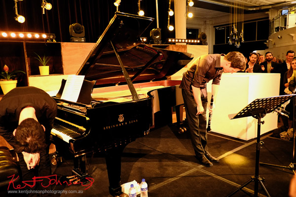 Taking a low bow; In performance, Andreas Ottensamer clarinete accomanied by pianist Alex Rainer plays 'Yellow Lounge' Street Fashion Sydney