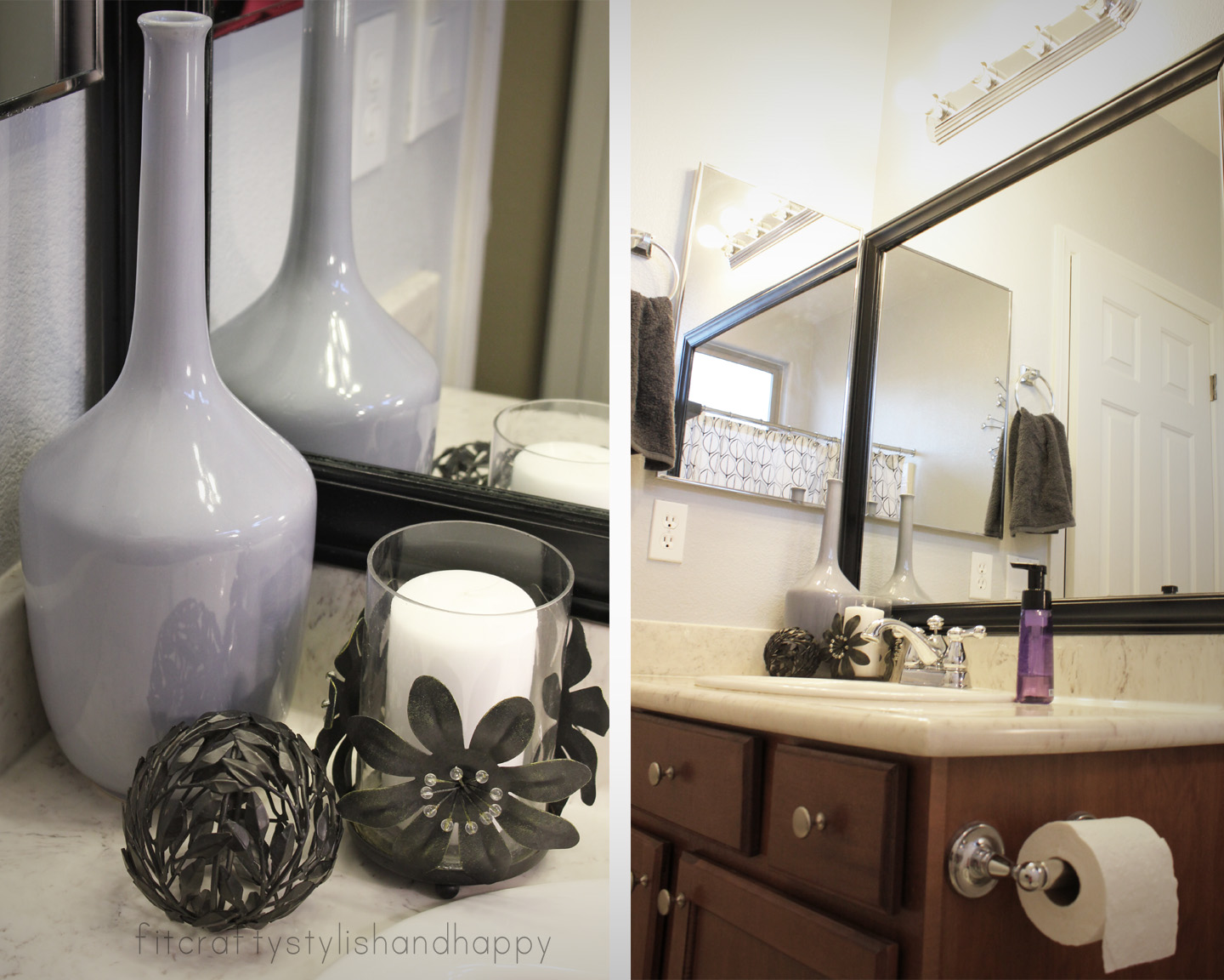 Fit crafty stylish and happy guest bathroom makeover for Grey bathroom decorating ideas