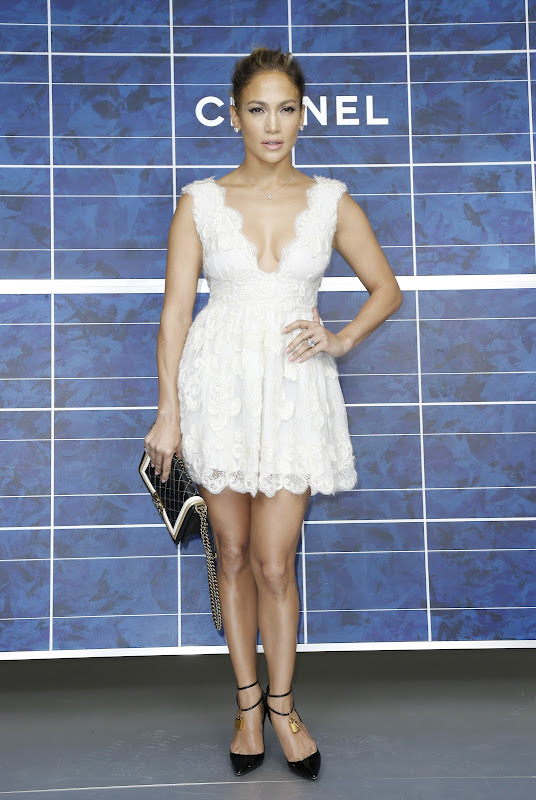Jennifer Lopez wearing a white dress at 'Chanel' Fashion Show  October 2012