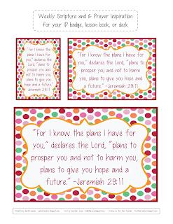 ID badge verses, gwhizteacher, weekly ID verses, Jeremiah 29:11