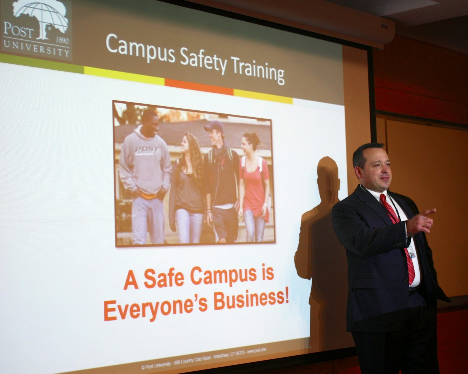 David Jannetty conducting Campus Student Safety Training at Post University
