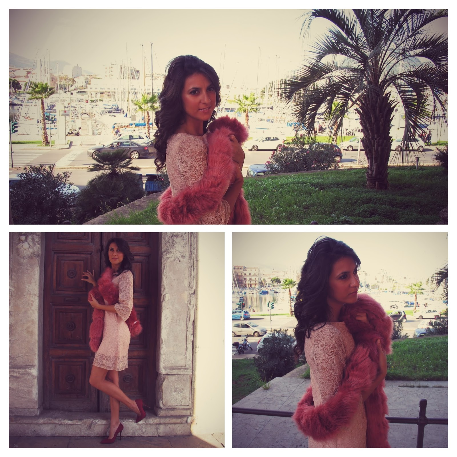 dress, boa, pelliccia, powder, pink