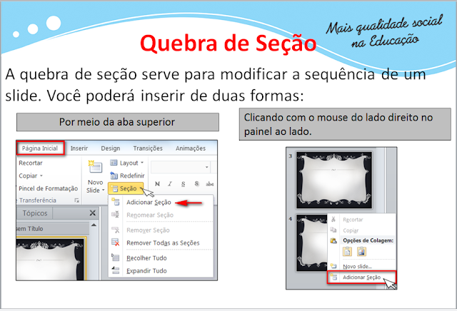 quebra de seção do power point