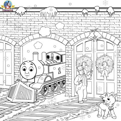 Thomas coloring pages printable Christmas pictures to color activities for children in winter season